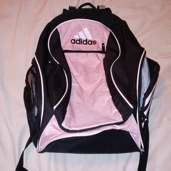 Pre-owned Pink and Black Adidas Soccer Backpack